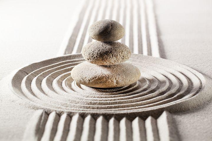 Zen stone and sand